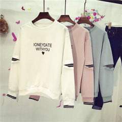 Real shot 2018 spring new long-sleeve top Korean version of the students baggy BF loose-fitting head white All code