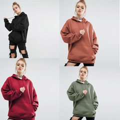 S-5xl 2017Ebay hot style autumn and winter European and American new loose pure color sports hoodie  black s.