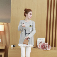 Actual spot new autumn clothing Korean version of the fashionable pregnant women`s clothing trend lo Light grey l