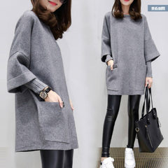 Autumn 2018 new large size women`s dress fat MM loose patchwork long-sleeved coat long style pure co gray m