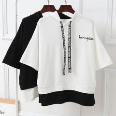 The new summer Korean version of the two fake t-shirts women`s embroidered letters with loose hats a white m