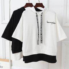 夏季新款韩版假两件T恤女装刺绣字母连帽宽松短袖上衣女 白色 M