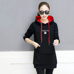 Winter 2017 sweet new thickened warm clothes middle and long style student clothes loose-fitting hat red m