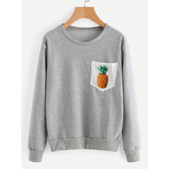 Cross-border special for wish ebay hot style women`s solid color round neck breast pocket printed pi gray s.