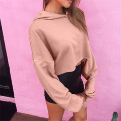 European and American hot style ebay wish cross-border manufacturers pure color loose long sleeve sh pink s.