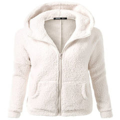 Autumn and winter 2018 new ebay Europe and the United States amazon fashion coat and hooded sweater  white s.