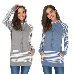 Cross-border source of new European and American women`s wear coats amazon hot style striped long-sl gray s.