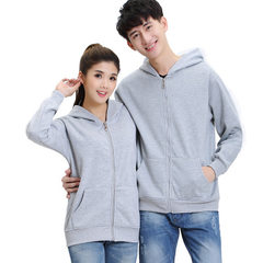 Manufacturers customize men`s and women`s diy baseball wear long-sleeved pure color vest warm hoodie gray s.