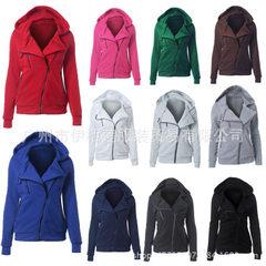 亚马逊爆款卫衣十一颜色七码斜拉链卫衣设计女款休闲纯色连帽卫衣 白色 XS