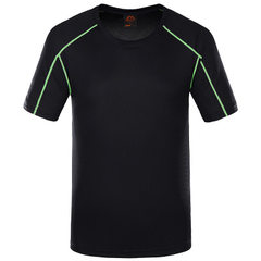Outdoor sports quick dry clothes fast dry t-shirts short sleeve fast dry t-shirts bottoms for men an 1703 male black s.