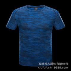 新款时尚情侣速干T恤透气排汗快干衣户外运动休闲圆领男士短袖潮 男蓝色 M