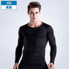 Fitness suit men`s fitness suit sports tights autumn and winter long sleeve running suit basketball  The 292 black S (95-115 jins)