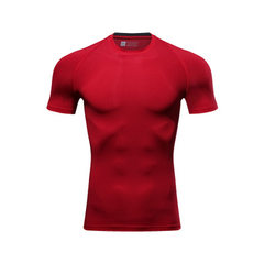 Men`s short-sleeved sports, high elastic, perspiration, quick dry, breathable, round neck, fitness,  red m
