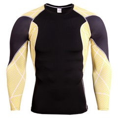 Popular hot style tights men`s long-sleeve compression t-shirts running fitness cycling fitness fitn TC129 spliced yellow dots s.