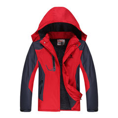 Winter outdoor stormtrooper coat men and women add fleece and thick cold-proof climbing suit single  red Large size (4 xl)