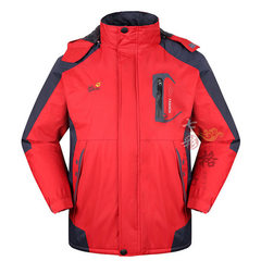 Windbreaker men`s and women`s cold-proof thermal coat outdoor large size with thick fleece waterproo red l