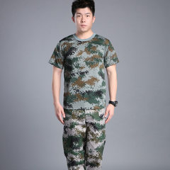 Camouflage suit men`s summer short sleeve T-shirt labor protection overalls college students outdoor T-shirt and trousers - woodland digital 165