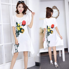 2018 women`s dress, European and American large size summer print dress, amazon wish hot style, one  1085-1085. s.