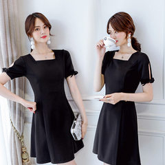 Baisu 2018 new summer short sleeve dress women Korean version of sweet wind A character skirt square pink s.