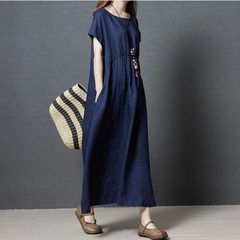 Spring wear new 2018 Korean version loose large size women`s fashion flax long - style pure - color  Dark blue m