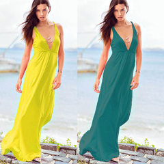 Wholesale European and American stretch mercerized cotton dresses, beach dresses, dresses (4 colors  white All code