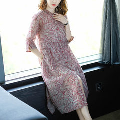Summer dress, European and American women`s dress, 2018 new print dress, loose and fashionable long  The leaves flowers m