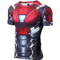 A hair generation sports tights men`s fitness training running suit quick dry short sleeve T-shirt m red xs