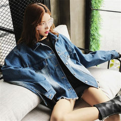 Photo taken in 2018 spring and autumn denim jacket women`s loose Korean version of fashionable stude blue s.