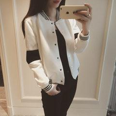 春季2018女装韩版休闲黑白撞色运动棒球服开衫立领夹克短外套女 白色 均码