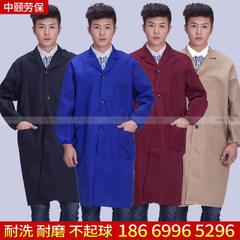 厂家直销定做 企业广告大褂 工作服工装男式长袖蓝大褂 藏蓝色 均码