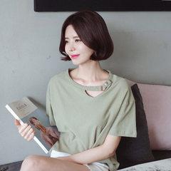 3307#现货爆款推荐麻棉宽松镂空纽扣领口文艺百搭纯色女士短袖T恤 黑色 S