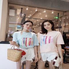 实拍实价2018夏季新款韩版甜美气质独特断口圆领短袖T恤上衣女 绿色 均码