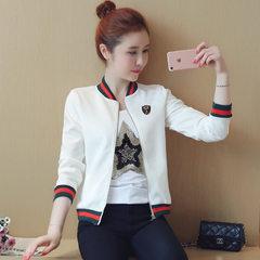 实拍2018春季新款女装短外套女春秋棒球服卫衣立领小夹克衫 白色 S