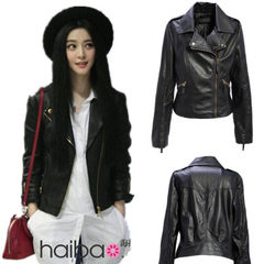 2018 spring and autumn new locomotive Korean version of PU leather ladies jacket size short slender  black XXL