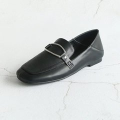 Square head solid color metal button decoration two sets of foot leisure single shoe loafers black 35