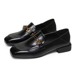 2018 new style fashionable Korean style leather shoes simple pure color elegant square head single s black 35