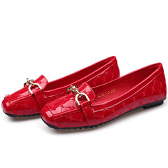 Mirror patent leather single shoes women`s solid color metal decorative square toe flat flat shoes K red 35