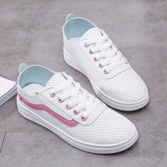 Manufacturer direct sale 2018 summer new breathable white shoes ins soft bottom hollow-out leisure s 809 pink 35