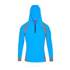 Manufacturer spot wholesale sun protection fishing wear hooded fishing shirt outdoor hiking bamboo c Blue fishing jacket s.