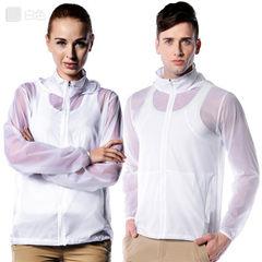 Wholesale custom summer ultrathin breathable sunscreen clothing men`s and women`s skin windbreaker p white xs