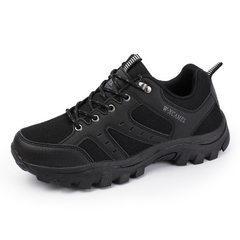 瑛萨新款户外登山鞋男低帮防水跑步鞋旅游鞋休闲鞋防滑耐磨鞋 黑色 40