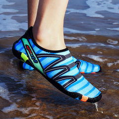 2018 new beach shoes skin men and women breathable snorkeling shoes anti-skid running machine swimmi 186 sapphire blue 35