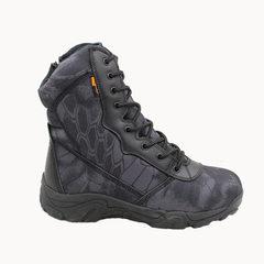 军靴蟒紋迷彩马格南高帮战术鞋作战靴 军迷户外登山鞋沙漠靴防水 黑色 38