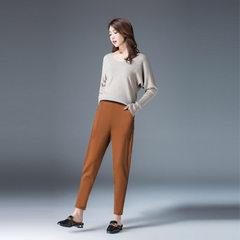 2018 new loose harem pants women summer high waist stretch Korean style temperament nine-point casua khaki 30