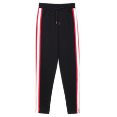Spring and autumn students white bar side white bar harbor wind women`s sports pants loose small foo 172 black s.