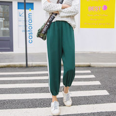 White stripe sports pants 2018 spring and summer new Korean version of nine-point trousers trouser l green s.