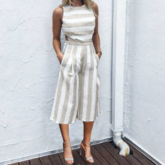 Wish amazon 2018 summer ins cross-border women`s cotton and linen striped seven-point jumpsuit eBay  khaki xl