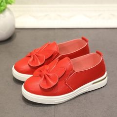 Korean version of the new spring and autumn children`s shoes cute bowknot rabbit ears leisure shoes  red 27