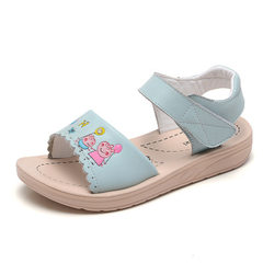 Girls` sandals 2018 summer new cartoon piglet children in the big baby girl student princess childre blue The length within 22 yards is 15.5cm