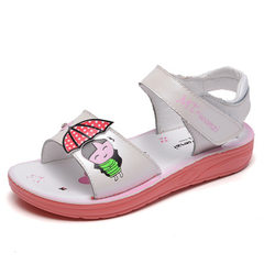 Girls` sandals 2018 summer new cartoon umbrella children`s big baby little girl student princess chi white The length within 22 yards is 15.5cm